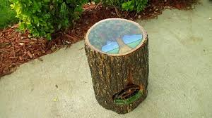 make a tree stump side table