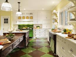 colors green kitchen ideas. Contemporary Kitchen Design Ideas With Beautiful Black Green Ceramic Floors And Warm Paint Accent Wall Colors As Well White Finish Wooden Cabinet