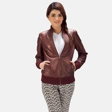 womens reida maroon leather er jacket 1
