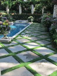 patio pavers with grass in between.  With Lush  Small Mondo Grass Between Pavers I Prefer The Pavers To Be Square  House Rather Than On Diagonal Inside Patio Pavers With Grass In Between