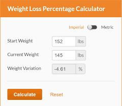 Calculate Weight Loss Percentage Calculator