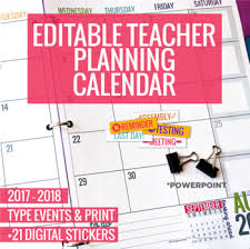 planning calendar template 2018 2017 2018 editable teacher planning calendar template by