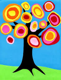 interesting kandinsky tree collage with painting ideas for kids
