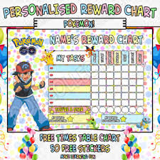 Details About Childrens Personalised Reward Chart Chore Toilet Training Pokemon