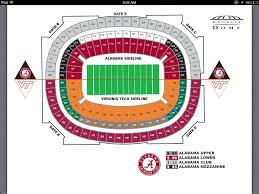 Here Is The Seating Chart For The Alabama Vs Virginia Tech Game