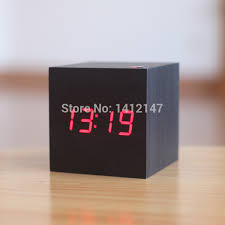 cool gadgets black case red led wooden table clock desktop reloj despertador mini square digital