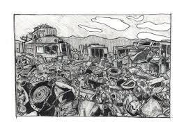 Image result for scrap yard black and white drawing
