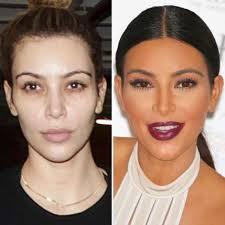kim kardashian without and with makeup