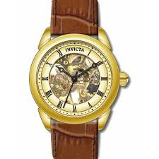invicta 17186 men s specialty gold skeleton dial brown leather invicta 17186 men s specialty gold skeleton dial brown leather strap mechanical watch review video