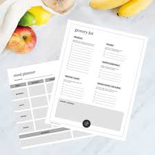 Printable Grocery List And Weekly Meal Planner Loveleaf Co