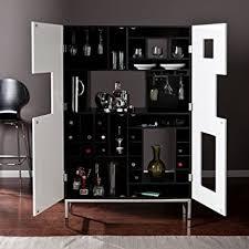 Amazon Southern Enterprises Shadowbox Wine Bar Cabinet Black