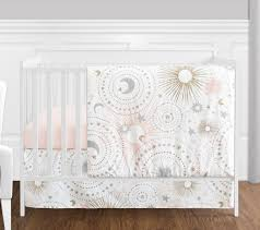 blush pink gold grey and white star and moon celestial baby girl crib bedding set without per by sweet jojo designs only 139 99