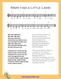 Includes lyrics, melody, and accompaniment. Piano Lesson Mary Had A Little Lamb