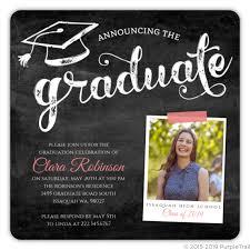 High School Graduation Announcement Pink Chalkboard Typography Graduation Invitation