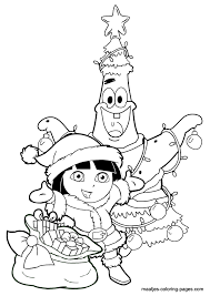 Small Picture Patrick Star as christmas tree and Dora the Explorer as Santa