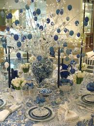 White Blue Glittery Christmas Dinner Table Decorations Focusing On Blue And  White Gittery Christmas Balls On