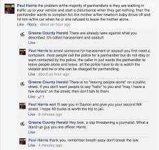 police threaten to arrest journalist for arguing him on facebook paul harris off duty cop