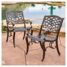 Sarasota Set of 2 Cast Aluminum Patio Chair Hammered Bronze