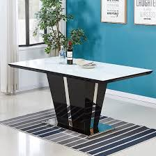 glass dining table high gloss black