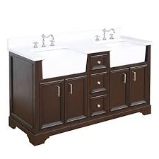 zelda 60 inch double bathroom vanity quartz chocolate includes a quartz countertop chocolate cabinet with soft close doors drawers and white ceramic