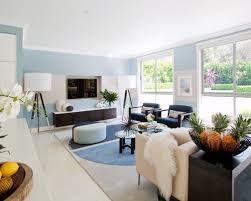 Fine White Floor Tiles Living Room Of A Midsized Trendy Open Concept Intended Modern Design