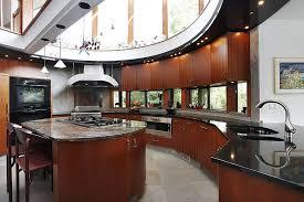 kitchen countertops quartz with dark cabinets. Unique, Modern Sunlit Kitchen Features Open Sky-light Ceiling And Oval  Design. Dark Countertops Quartz With Dark Cabinets