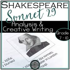 sonnet teaching resources teachers pay teachers  shakespeare s sonnet 29 analysis and creative writing poetry