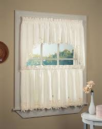 Kitchen Shades And Curtains Window Treatments Lace Tab Top Curtains Dark Stained Wood Lace