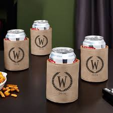Koozie Design Ideas Statesman Personalized Set Of 4 Can Coolers Sand