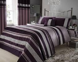 plum purple metallic detail super king duvet quilt cover bed set bedding co uk kitchen home