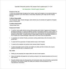 job description for a dentist dental assistant job description template 9 free word pdf format