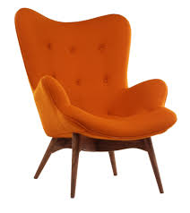 Furniture:Glamorous Modern Lounge Chair With Orange Color Also Brown Wooden  Legs Best Comfortable Chairs