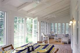 Sunroom ceiling ideas sunroom farmhouse with white porch sloped ceiling  porch ceiling fans