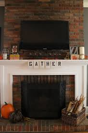 awesome brick fireplace mantel decoration with birdcage as candle