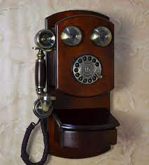 antique wood telephone wall mounted