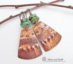 turquoise and copper tribal earrings unique handmade artisan jewelry