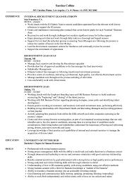 Recruiting Specialist Resume Sample Recruitment Lead Resume Samples Velvet Jobs 13