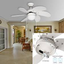 30 in white ceiling fan with light kit 6 blades reversible classic ceiling fan