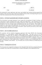 Sample Condominium Financial Statements For The Years Ended