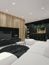 modern apartment living room ideas black. Black And White Interior Design With Wood Texture In Living Room By ID Modern Apartment Ideas C