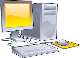 desktop computer a stylized illustration of a personal computer consisting of a case containing the motherboard and processor a monitor a keyboard and a mouse