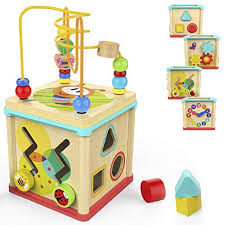 TOP BRIGHT Activity Cube Toys Baby Educational Wooden Bead Maze Shape Sorter for 1 Year Old Best Gifts Old: Amazon.com