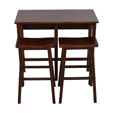 one sided wood drop leaf kitchen set with stools dining sets
