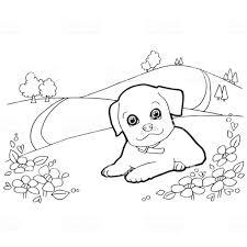 犬と風景ベクトルと塗り絵 お絵かきのベクターアート素材や画像を多数
