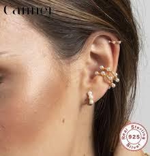 <b>1PC 925 Sterling</b> Sliver Ear Cuff Chic Style C Shape Pearl Earrings ...