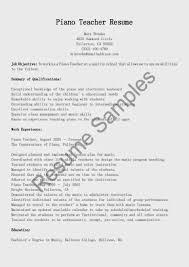 Piano Teacher Resume Sample Piano Teacher Resume Sample Enderrealtyparkco 19