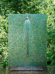 C Mosaic Tile Wall Outdoor Shower