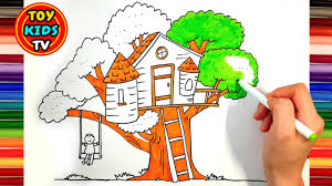 how to draw a treehouse step by step. Unique Draw How To Draw A Tree House For Kids  Hot Dog Drawing Painting With Color  Marker Intended To Draw A Treehouse Step By D