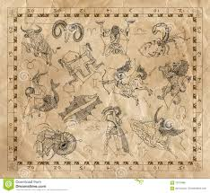 Old Zodiac Chart Collage With Zodiac Signs On Old Paper Stock Illustration