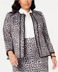 Plus Size Leopard Print Blazer